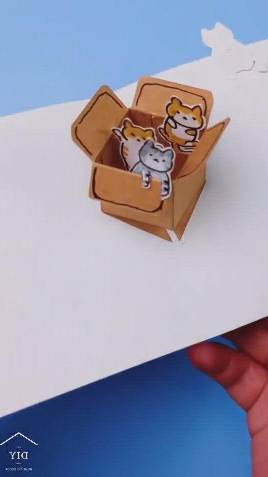 Diy 3d cat box is in the greeting card - Video & GIFs   manualidades escolares,manualidades divertidas,manualidades de papel para ninos,diy crafts hacks,diy crafts for gifts,diy home crafts,diy arts and crafts,cool paper crafts,paper crafts origami,diy paper,fun crafts,instruções origami