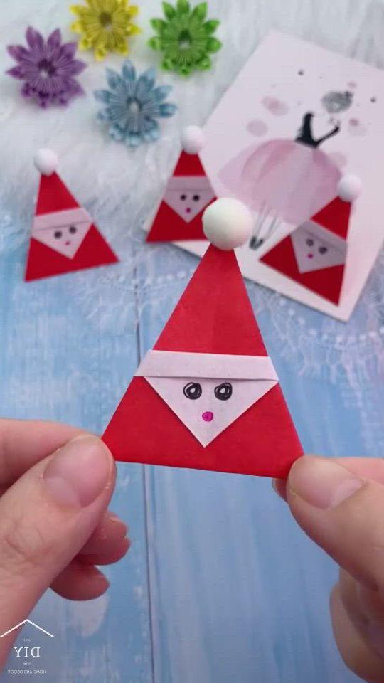 Origami santa claus - Video & GIFs   christmas card crafts,paper crafts diy kids,christmas crafts diy,preschool christmas crafts,christmas activities for kids,holiday crafts,paper crafts origami,easy paper crafts,diy crafts for gifts,diy arts and crafts,origami santa claus