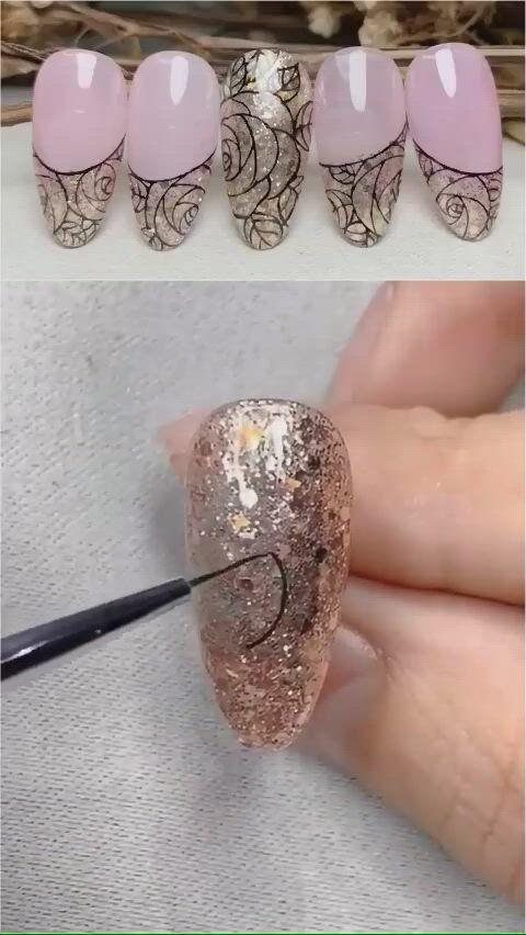Beautiful sparkling nail art - Video & GIFs | nail art ,ladybug nail art,nails design with rhinestones,diy canvas art,toddler crafts,interior design living room,pretty nails,diy bedroom decor,nail colors,pop art,life hacks