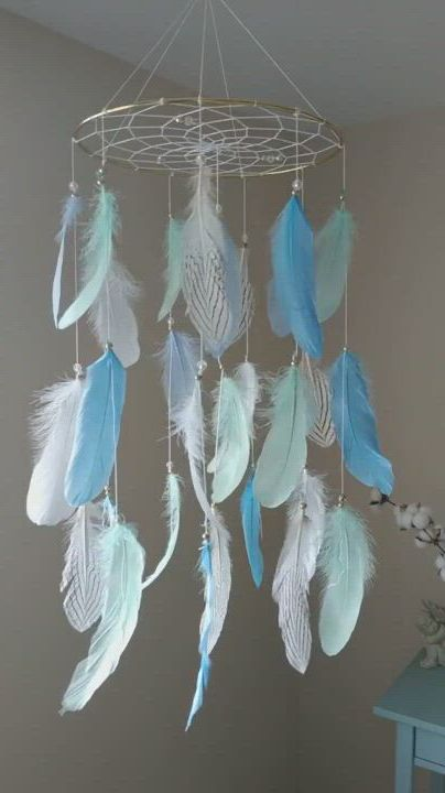 Crib Mobile Mint Blue Baby Mobile Boy Nursery Mobile Large Dream Catcher Woodland Baby Shower Gift