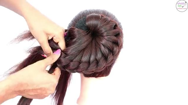Bun hairstyle for wedding and party