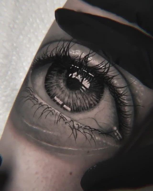 Black and Grey Realism Eye Tattoo by Leonardo Acosta - Video & GIFs | eye tattoo,black and grey tattoos,grey tattoo,berlin,eyes,,art,beautiful eyes,black and gray tattoos,art background,kunst