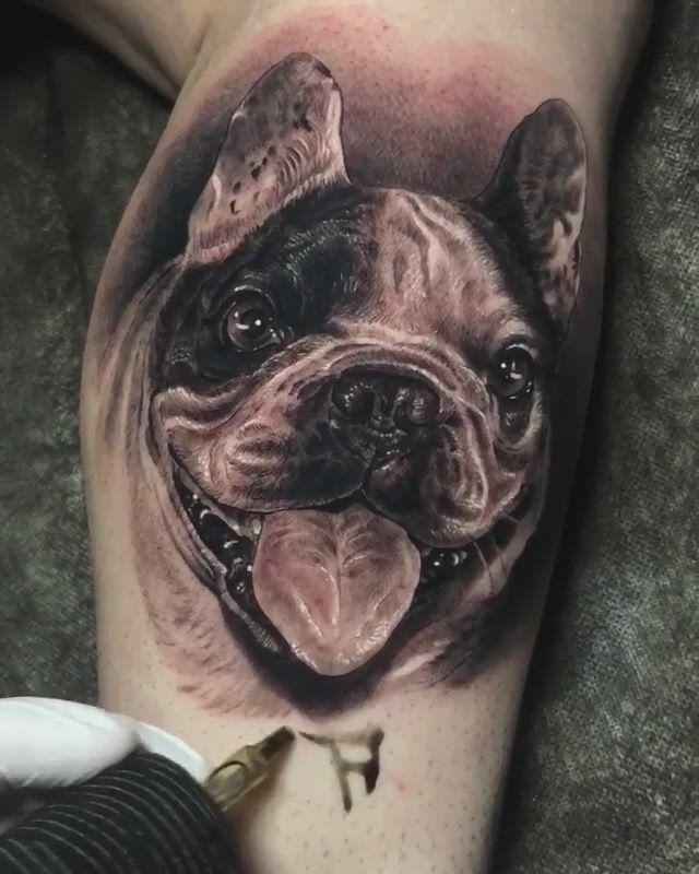 Black and Grey Realismus Hund Tattoo von Fred Wayne aus Spanien