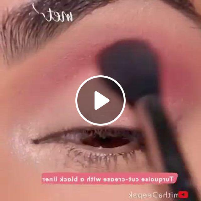 Eye Makeup Look - Video & GIFs | makeup vs no makeup, eyebrow makeup tips, makeup eye looks, cut crease makeup, eyeshadow makeup, makeup cosmetics, beauty makeup, hair makeup, cheap makeup