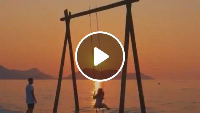 Swing On The Beach - Video & GIFs   beautiful nature scenes, city aesthetic, aesthetic, orange aesthetic, beautiful places