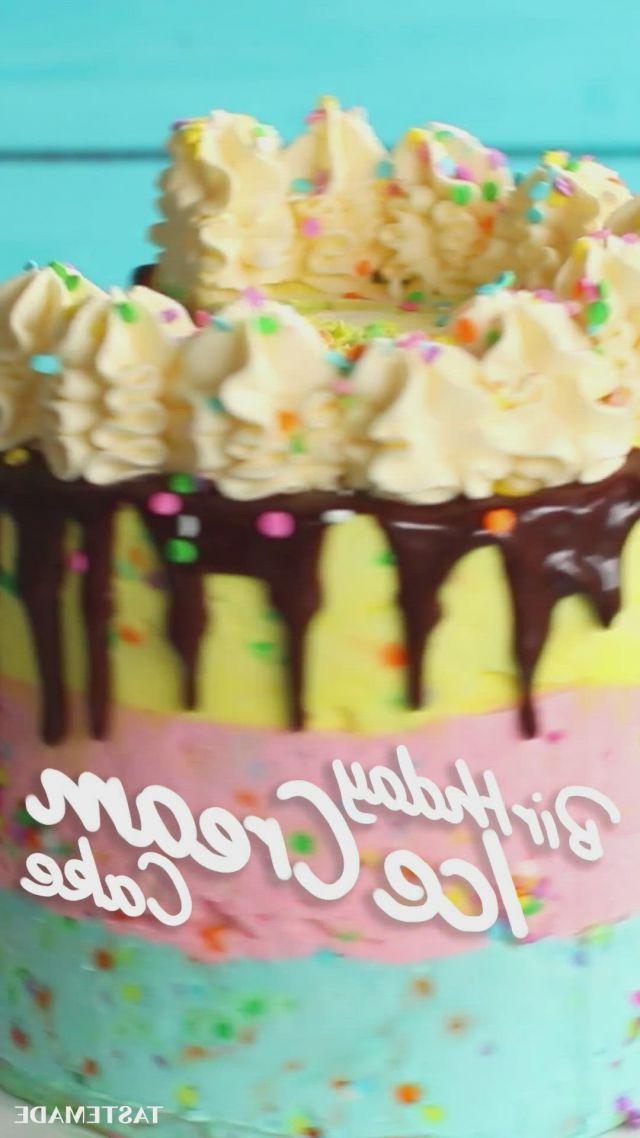 Ice cream birthday cake - Video & GIFs   ice cream birthday cake,fun baking recipes,yummy cakes,sweet recipes,cake recipes,dessert recipes,cute desserts,frozen desserts,delicious desserts,fun birthday cakes