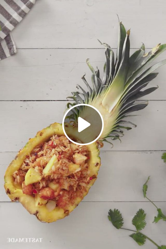 Shrimp Fried Rice In A Pineapple Boat - Video & GIFs | recipes, food recipies, yummy food, seafood dishes, seafood recipes, cooking recipes, asian recipes, mexican food recipes, dinner recipes, good food, tasty