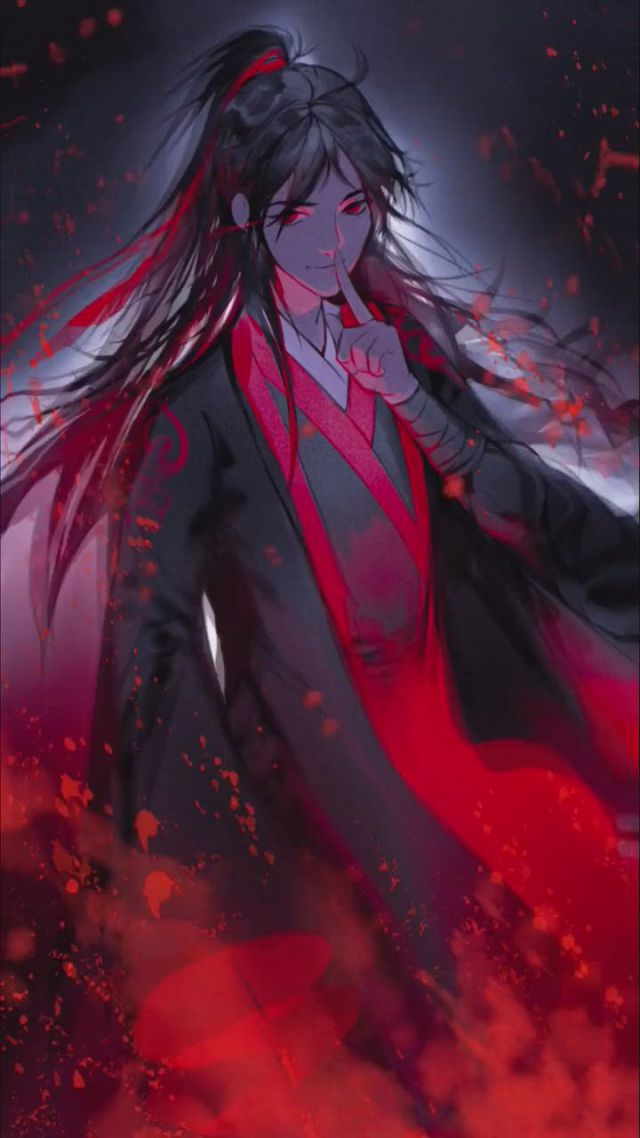 Wei Wuxian GrandMaster Of Demonic Cultivation - Video & GIFs   anime negra,caras bonitos anime,personagens de anime,anime,dark fantasy,character art,manga anime,anime fanart,cute anime guys,dark anime,art