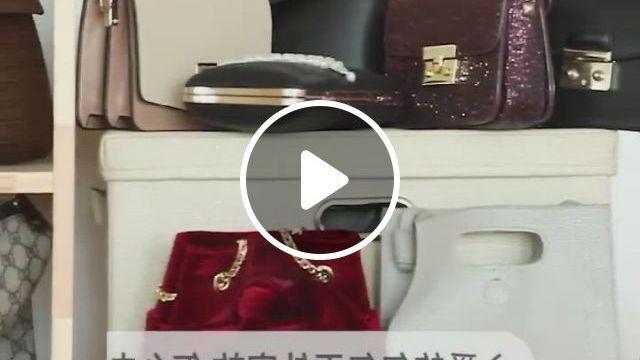 6 Pocket Hanging Handbag Organizer For Wardrobe Closet Transparent Storage Bag - Video & GIFs   hanging storage, bag organization, handbag organization