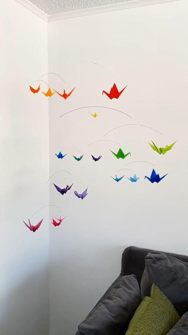 DIY Rainbow Origami Paper Crane Mobile
