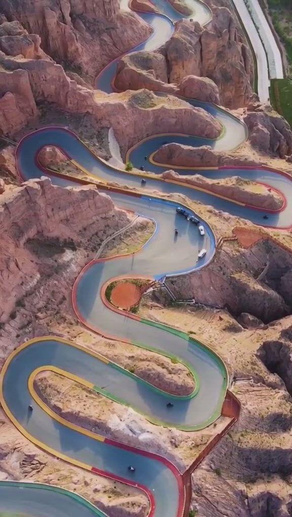 Beautiful serpentine road in china - Video & GIFs | nature,landscape,landscapes,have fun,adventure,sport,plants,travel,fantasy landscape
