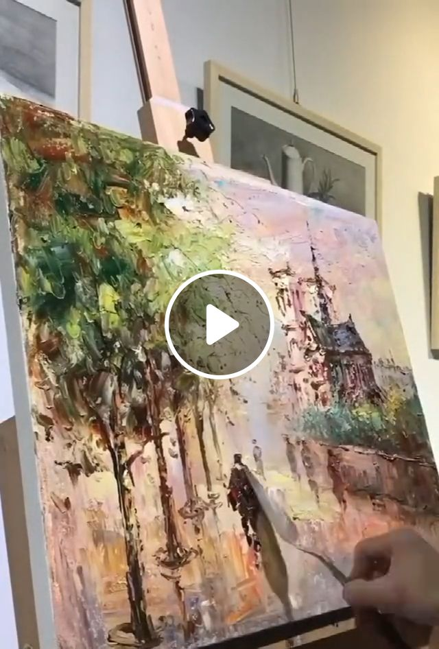 3D thick oil knife painting art - street scenes, realistic painting, beautiful paintings, 3d thick oil, knife painting art, oil painting, tree paintings, home decor, flowers paintings, modern canvas wall art, artwork, wall decor, acrylic paintings, palette knife painting, street scenes, paint a street