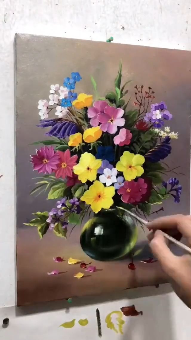 Oil Painting Vase With Flowers