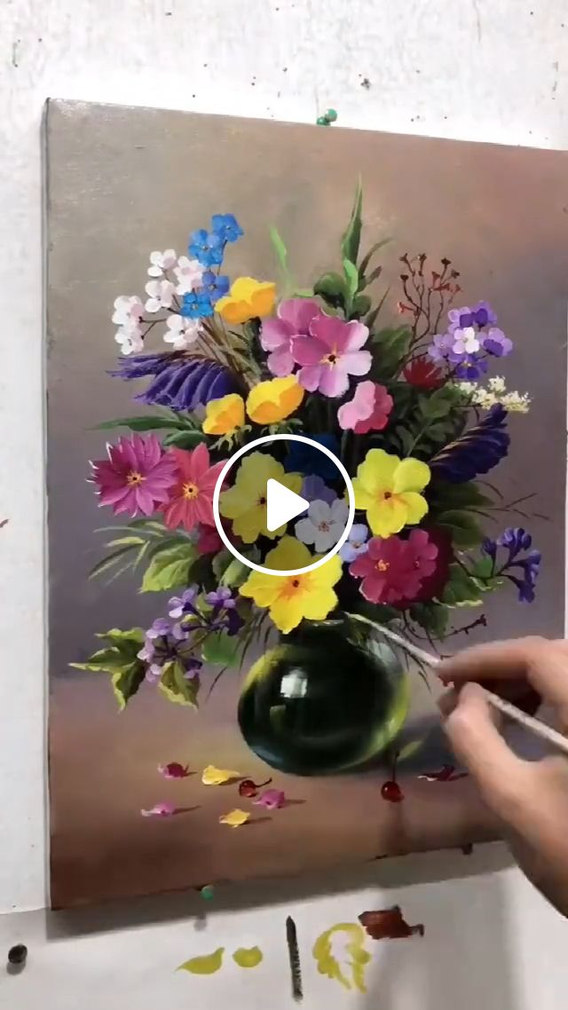 Oil Painting Vase With Flowers, realistic painting, beautiful paintings, oil painting, floral painting, home decor, flowers paintings, modern canvas wall art, artwork, wall decor, painting ideas with flowers, floral scenes, art of painting flowers in oil, oil painting art