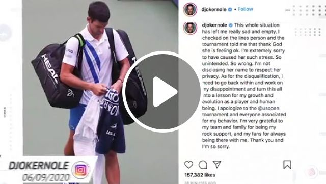 Social media reacts as Djokovic disqualified from US Open, novak djokovic, usopen 2020, socialmedia, hitting line judge, djokernole instagram sad and empty, billiejeanking twitter the rule is the rule, leaderofhorde twitter ridiculous decision, martina twitter glad woman is ok, gregrusedski1 twitter correct decision, mjgold twitter crazy day us open
