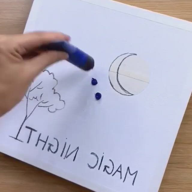 How to paint a lovely night sky over the water - Video & GIFs | sky art painting,night sky painting,diy canvas art painting,canvas painting tutorials,easy canvas painting,diy canvas art,art painting gallery,sky art,cool art drawings,fantastic art,bob ross painting