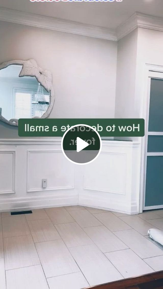 Small Foyer Decor Idea - Video & GIFs   foyer decor, small scale furniture, doors interior, foyer decorating, interior decorating, small foyers, split foyer, drop zone, personal space, floor space, wall spaces