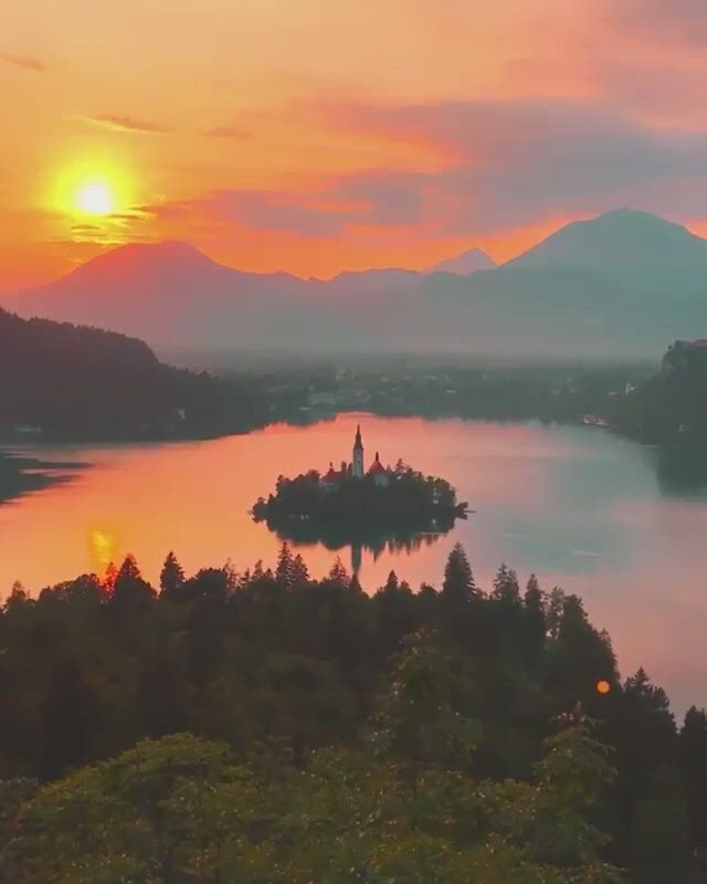Sunset over lake bled, slovenia - Video & GIFs | beautiful places nature,beautiful nature scenes,beautiful landscapes,beautiful world,beautiful places to travel,cool places to visit,travel tours