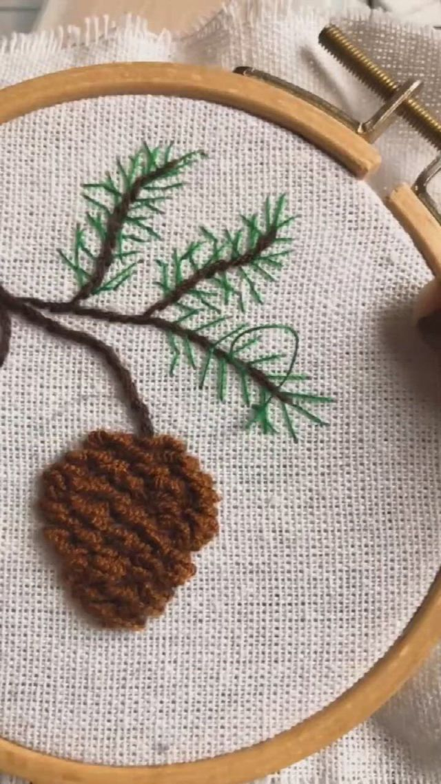 Embroidery Art Pine Branch - Video & GIFs   embroidery art,embroidery,needle art,pine branch,pine cones,diy crafts,quilts,how to make,christmas,house,ideas