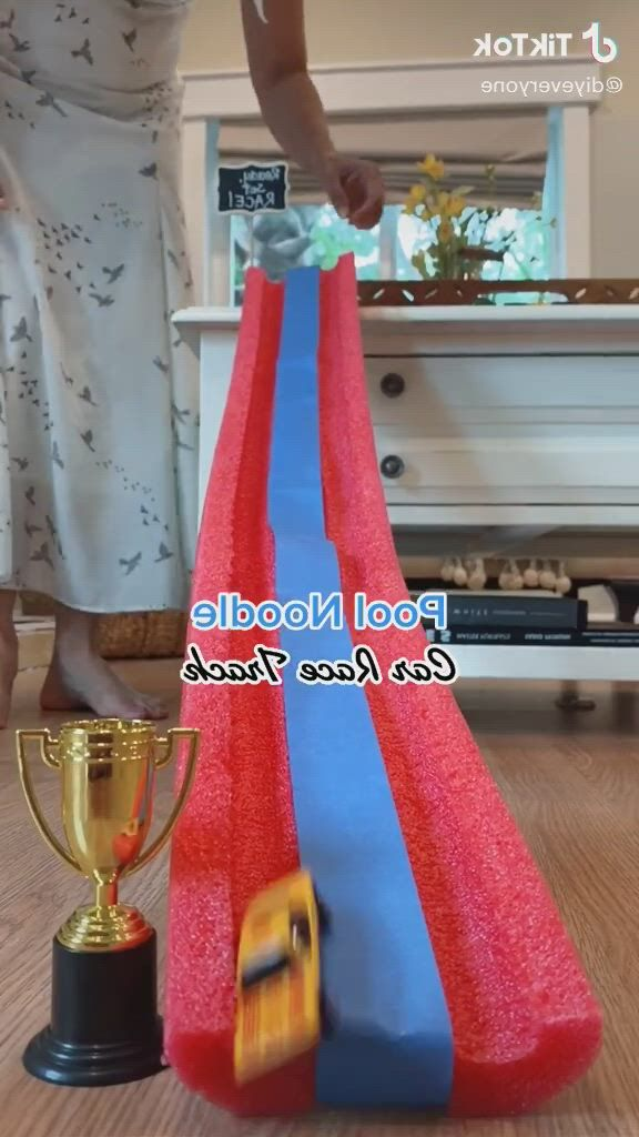 Pool noodle car race track - Video & GIFs | car tracks for kids,outdoor car track for kids,race car birthday,race car track,race tracks,toddler activities,activities for kids,preschool songs,pool noodles