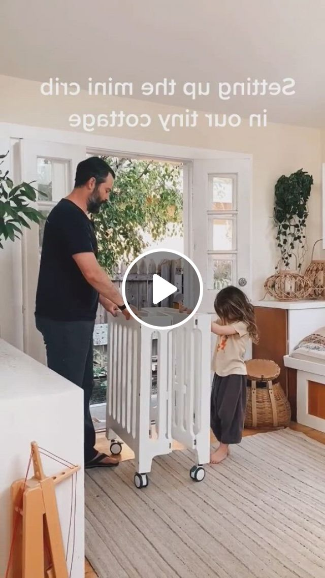Tiny Crib In A Tiny Home - Video & GIFs | small bedroom, cribs for small spaces, small space living, small crib, small space nursery, kid spaces, crib in closet, baby nursery decor, nursery ideas, small space solutions