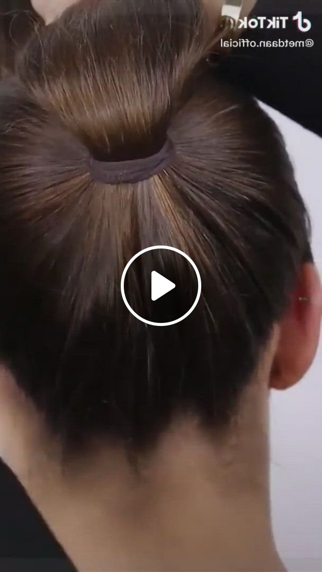 Braided Bun Hairstyle Cute - Video & GIFs   bun hairstyles for long hair, bridal hair buns, easy hairstyles for long hair, hairstyles for medium length hair tutorial, hair tutorials for medium hair, ponytail hairstyles tutorial, braided bun hairstyles, short hair updo, braided buns, two buns hairstyle, bun braid