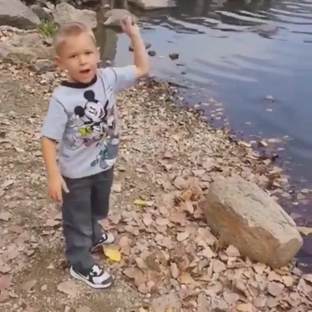 How many times can a stone skip - Video & GIFs | cute funny babies,funny comedy