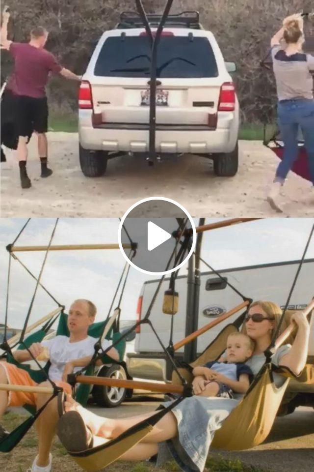 Hammaka Trailer Hitch Stand And Cradle Chairs Combo - Video & GIFs   truck bed camper, trailer hitch, beach camper, tent campers, camper caravan, truck camping, camping glamping, camping life, camping gear, camper van shower