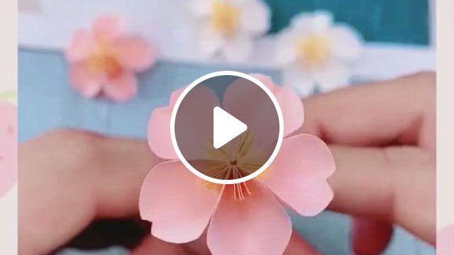 Cherry Blossom Paper Craft - Video & GIFs | manualidades creativas, manualidades escolares, manualidades, cool paper crafts, paper flowers craft, paper crafts origami, flower crafts, fun crafts, origami flowers, creative crafts, diy paper, diy crafts for home decor