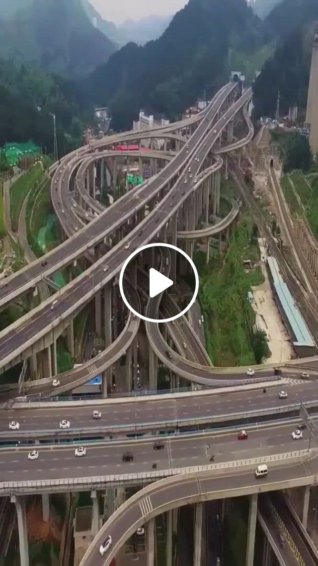 One Of China's Most Complex Interchanges - Video & GIFs | beautiful places to travel, cool places to visit, beautiful roads, wonderful places