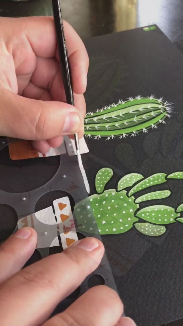 Gouache Painting Cacti on Black Paper by Philip Boelter - Video & GIFs | black paper drawing,black paper,gouache painting,watercolor artwork,gouache,color pencil art,canvas painting tutorials,gouache art,black background painting