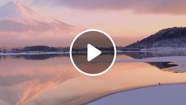 Reflection Of Mount Fuji In Winter - Video & GIFs | mount fuji, nature, natural landmarks, mount rainier, reflection, japan, mountains, winter, travel, fuji mountain