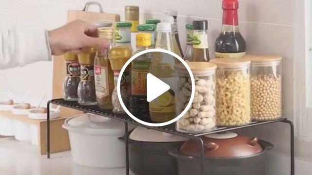 Stackable Kitchen Cabinet And Counter Shelf Organizer, White - Video & GIFs | kitchen storage, small bathroom storage, mason jar kitchen