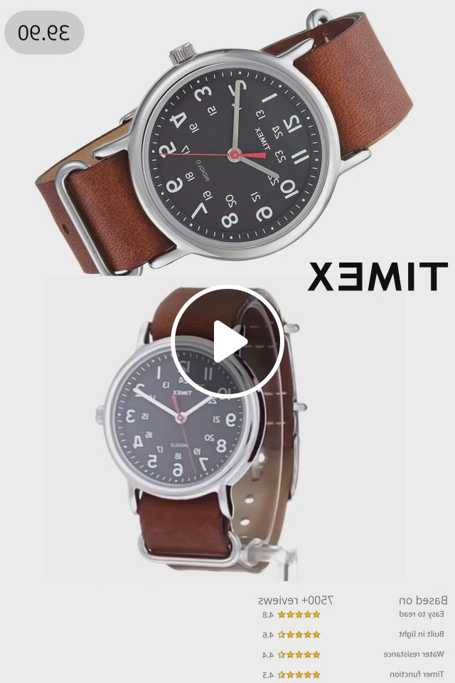Timex Weekender 38mm Watch For Men And Women Waterproof Affordable Watch With Brown Leather Strap - Video & GIFs | watches for men, affordable watches, bracelets for boyfriend, homemade gifts for boyfriend, cute boyfriend gifts, casual watches, men's watches, leather slip ons, leather men, brown leather