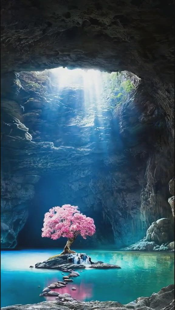 A beam of light, a tree - Video & GIFs   fantasy landscape,beautiful landscapes,fantasy artwork