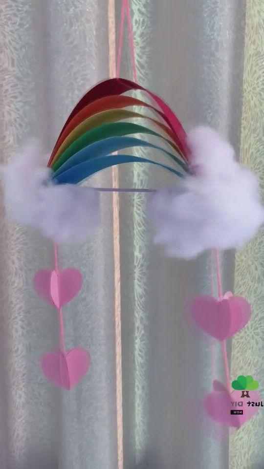 Diy easy rainbow mobile - Video & GIFs   paper crafts diy kids,paper crafts diy tutorials,babysitting crafts,projects for kids,diy for kids,craft projects,crafts for kids,diy and crafts,arts and crafts,paper crafts,steam art,diy wind chimes