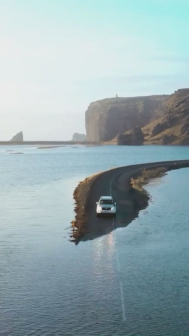 Would you drive across this flooded road in Iceland