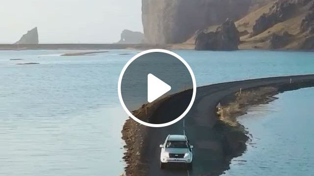 Would you drive across this flooded road in Iceland, just lyrics, amazing nature, movie clip