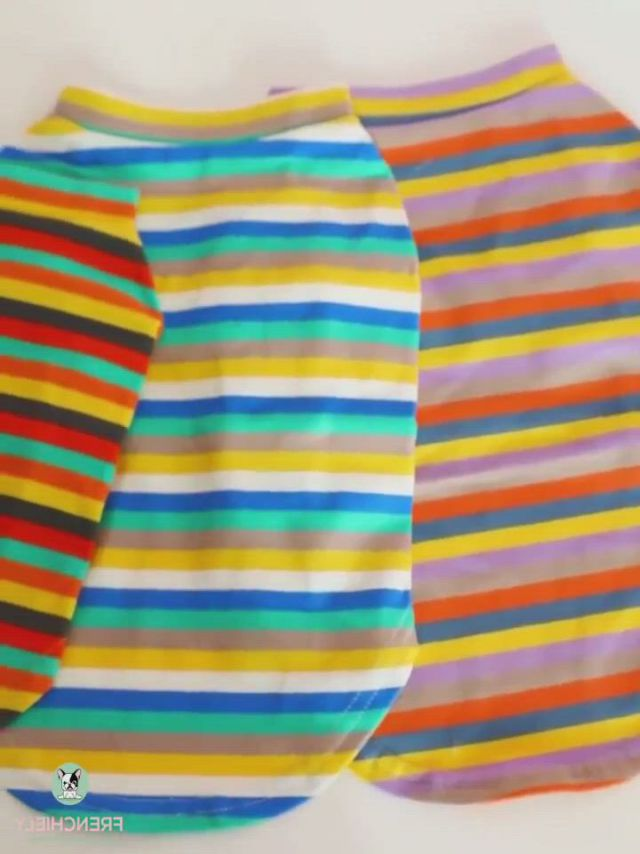 Dog Striped Shirt Sweater - Video & GIFs | tank shirt,dog shirt,sweater shirt,chien halloween,halloween cat,halloween costume contest,funny halloween costumes,french bulldog clothes,dog raincoat
