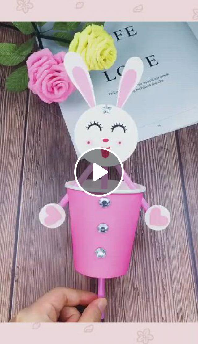 DIY Happy Rabbit - Video & GIFs | truques de pintura, artesanato criativo, criatividade, diy crafts for teen girls, diy crafts for adults, easy diy crafts, diy crafts to sell, home crafts, paper decorations, diy room decor, bff, rabbit