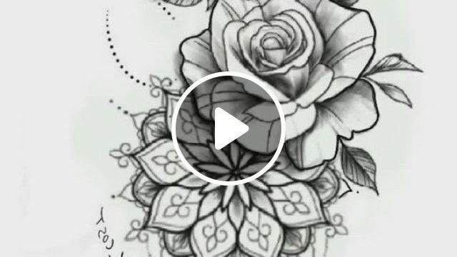Flower Tattoo Manuscript - Video & GIFs | tattoos, flower tattoo designs, tattoo designs, mandala flower tattoos, tattoo designs men, mandala rose, tattoos of flowers, flower tattoos on back, hummingbird flower tattoos, butterfly sleeve tattoo, mandala tattoo leg