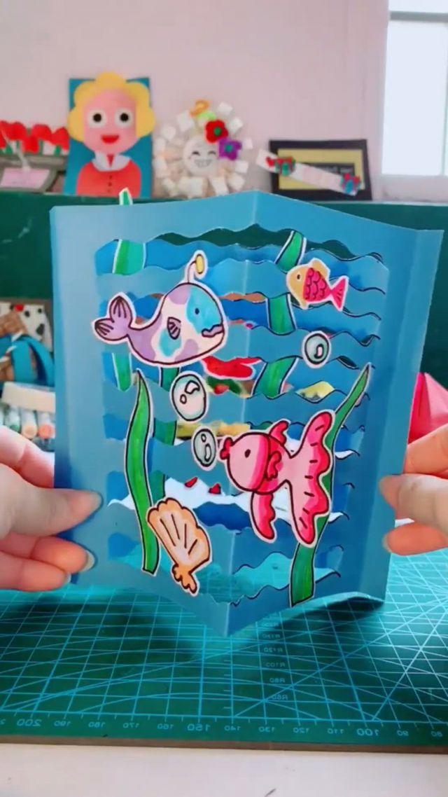 DIY Ocean Card For Kids - Video & GIFs   preschool crafts,paper crafts diy kids,paper crafts,animal crafts for kids,halloween crafts for kids,paper crafts for kids,diy crafts for gifts,craft activities for kids,toddler crafts,diy for kids,fun crafts