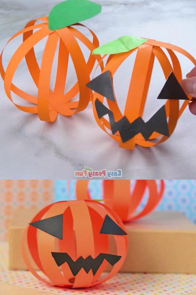 Paper pumpkin craft simple halloween craft for kids - Video & GIFs | halloween crafts,easy halloween crafts,halloween diy crafts,theme halloween,halloween arts and crafts,halloween crafts for toddlers,fall crafts for kids,diy halloween decorations,toddler crafts,halloween diy,holiday crafts,kids crafts