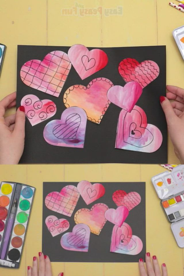Simple valentines day art - Video & GIFs   valentines diy,paper crafts diy kids,simple valentine,fun crafts,arts and crafts,paper crafts,diy for kids,crafts for kids,children crafts,easy peasy,maths