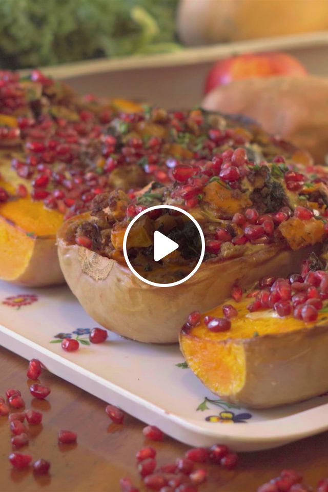 Vegan Sausage Stuffed Butternut Squash - Video & GIFs | vegan recipes, vegan sausage, vegetable recipes, healthy side dishes, vegetable side dishes, vegan dishes, vegetarian recipes, healthy recipes, clean eating, healthy eating, fun baking recipes
