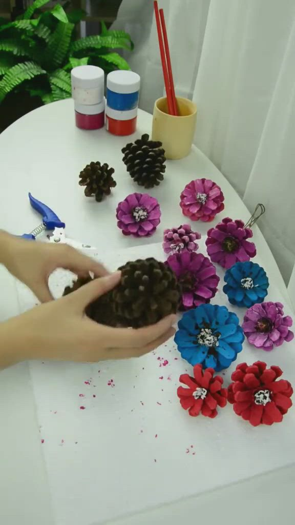 Pine cones and tea pots make different flowers - Video & GIFs   different flowers,diy crafts,tea pots,aesthetic movies,pine cones,craft ideas,how to make,do it yourself,diy ideas