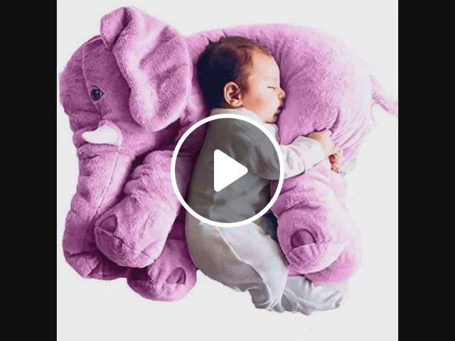 Love This Big Baby Elephant - Video & GIFs   elephant pillows baby, baby pillows, cute baby elephant, so cute baby, cute babies, baby elephant toy, elephant pillow, stuffed elephant for baby, baby elephants, grey elephant, the babys